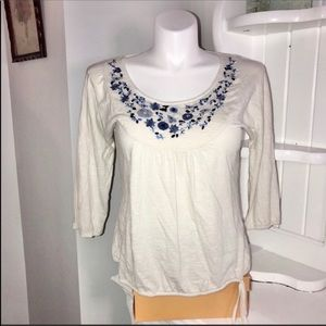 Lucky Brand White Embroidered Boho Peasant Top